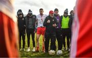 9 February 2020; Tyrone manager Mickey Harte addresses his players following the Allianz Football League Division 1 Round 3 match between Tyrone and Kerry at Edendork GAC in Dungannon, Co Tyrone. Photo by David Fitzgerald/Sportsfile