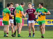 9 February 2020; A disappointed Michael Murphy of Donegal, centre, shakes hands with Conor Campbell of Galway after the Allianz Football League Division 1 Round 3 match between Donegal and Galway at O'Donnell Park in Letterkenny, Donegal. Photo by Oliver McVeigh/Sportsfile