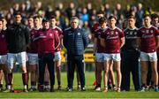 9 February 2020; Galway manager Padraic Joyce, centre, stands with his players during the national anthem before the Allianz Football League Division 1 Round 3 match between Donegal and Galway at O'Donnell Park in Letterkenny, Donegal. Photo by Oliver McVeigh/Sportsfile
