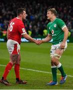 8 February 2020; Ryan Elias of Wales and Josh van der Flier of Ireland shake hands after the Guinness Six Nations Rugby Championship match between Ireland and Wales at Aviva Stadium in Dublin. Photo by Brendan Moran/Sportsfile