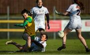 9 February 2020; Geraldine McLaughlin of Donegal in action against Fabienne Cooney of Galway during the 2020 Lidl Ladies National Football League Division 1 Round 3 match between Donegal and Galway at O'Donnell Park in Letterkenny, Donegal. Photo by Oliver McVeigh/Sportsfile