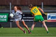 9 February 2020; Olivia Divilly of Galway in action against Caroline Sharkey of Donegal during the 2020 Lidl Ladies National Football League Division 1 Round 3 match between Donegal and Galway at O'Donnell Park in Letterkenny, Donegal. Photo by Oliver McVeigh/Sportsfile