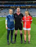 8 February 2020; Referee Niall McCormack with team captains Ciara Trant of Dublin, left, and Aisling Hutchings of Cork prior to the Lidl Ladies National Football League Division 1 Round 3 match between Dublin and Cork at Croke Park in Dublin. Photo by Seb Daly/Sportsfile