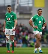 8 February 2020; Jonathan Sexton, left, and Bundee Aki of Ireland during the Guinness Six Nations Rugby Championship match between Ireland and Wales at Aviva Stadium in Dublin. Photo by David Fitzgerald/Sportsfile