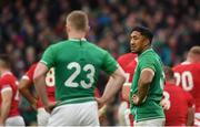 8 February 2020; Bundee Aki, right, and Keith Earls of Ireland during the Guinness Six Nations Rugby Championship match between Ireland and Wales at Aviva Stadium in Dublin. Photo by David Fitzgerald/Sportsfile