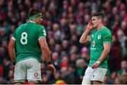 8 February 2020; Jonathan Sexton, right, and CJ Stander of Ireland during the Guinness Six Nations Rugby Championship match between Ireland and Wales at Aviva Stadium in Dublin. Photo by David Fitzgerald/Sportsfile
