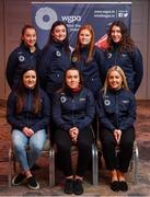 10 February 2020; The Women's Gaelic Players Association, WGPA, presented 55 third-level scholarships. The awards were made to intercounty Camogie and Ladies Football players from 37 squads attending 18 different colleges. The scholarship scheme recognises the efforts of WGPA members in pursuing their dual career, supporting them to reach their potential both as students and athletes. Pictured are, top row, from left, Neasa Byrd of Cavan, Katie Kehoe of Offaly, Beth Carton of Waterford, Emma Dineen of Kerry and bottom row, from left, Niamh Feeney of Roscommon, Jackie Horgan of Kerry and Eilish Ronayne of Mayo at the Castleknock Hotel, Dublin. Photo by David Fitzgerald/Sportsfile
