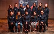 10 February 2020; The Women's Gaelic Players Association, WGPA, presented 55 third-level scholarships. The awards were made to intercounty Camogie and Ladies Football players from 37 squads attending 18 different colleges. The scholarship scheme recognises the efforts of WGPA members in pursuing their dual career, supporting them to reach their potential both as students and athletes. WGPA awards are supported by ICON, PLC and Irish American Partnership. Pictured are, top row, from left, Rosemary Courtney of Monaghan, Joanne Barrett of Tyrone, Ailbhe Davoren of Galway, Hannah O'Donoghue of Kerry, Aine O'Connor of Kerry, Aoife Gorman of Wicklow, Niamh Forker of Armagh and bottom row, from left, Rachael Sawyer of Carlow, Gráinne Nolan of Clare, Erin Murphy of Fermanagh, Aoife O'Malley of Westmeath and Aisling Moloney of Tipperary at the Castleknock Hotel, Dublin. Photo by David Fitzgerald/Sportsfile