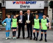 10 February 2020; The Football Association of Ireland are delighted to announce a new partnership with the leading Irish sports retailer INTERSPORT Elverys, as the new title sponsor of the FAI Summer Soccer Schools. Pictured are Republic of Ireland manager Mick McCarthy and FAI Interim Deputy Chief Executive Niall Quinn with Larkin Community College students, from left, Adrian Lucaci, Isabelle Baker, Alisha Rose Sammy and Remis Galiceanu at INTERSPORT Elverys, Henry Street in Dublin. Photo by Stephen McCarthy/Sportsfile