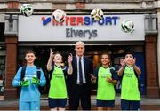 10 February 2020; The Football Association of Ireland are delighted to announce a new partnership with the leading Irish sports retailer INTERSPORT Elverys, as the new title sponsor of the FAI Summer Soccer Schools. Pictured at the announcement is Republic of Ireland manager Mick McCarthy with Larkin Community College students, from left, Adrian Lucaci, Isabelle Baker, Alisha Rose Sammy and Remis Galiceanu at INTERSPORT Elverys, Henry Street in Dublin. Photo by Stephen McCarthy/Sportsfile