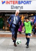 10 February 2020; The Football Association of Ireland are delighted to announce a new partnership with the leading Irish sports retailer INTERSPORT Elverys, as the new title sponsor of the FAI Summer Soccer Schools. Pictured at the announcement is Republic of Ireland manager Mick McCarthy with Larkin Community College student Remis Galiceanu at INTERSPORT Elverys, Henry Street in Dublin. Photo by Stephen McCarthy/Sportsfile