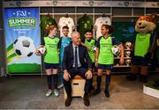 10 February 2020; The Football Association of Ireland are delighted to announce a new partnership with the leading Irish sports retailer INTERSPORT Elverys, as the new title sponsor of the FAI Summer Soccer Schools. Pictured at the announcement is Republic of Ireland manager Mick McCarthy with Larkin Community College students, from left, Isabelle Baker, Adrian Lucaci, Remis Galiceanu and Alisha Rose Sammy at INTERSPORT Elverys, Henry Street in Dublin. Photo by Stephen McCarthy/Sportsfile
