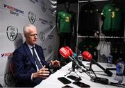 10 February 2020; The Football Association of Ireland are delighted to announce a new partnership with the leading Irish sports retailer INTERSPORT Elverys, as the new title sponsor of the FAI Summer Soccer Schools. Pictured during a press conference is at the announcement is Republic of Ireland manager Mick McCarthy at INTERSPORT Elverys, Henry Street in Dublin. Photo by Stephen McCarthy/Sportsfile