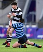 10 February 2020; Finn McCarrick of Belvedere College is tackled by Ben Bislin of St Vincent's Castleknock College during the Bank of Ireland Leinster Schools Senior Cup Second Round match between Belvedere College and St Vincent's Castleknock College at Energia Park in Dublin. Photo by Piaras Ó Mídheach/Sportsfile
