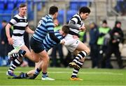 10 February 2020; James Dillon of Belvedere College is tackled by Alex Watson, centre, and Conor Delaney of St Vincent's Castleknock College during the Bank of Ireland Leinster Schools Senior Cup Second Round match between Belvedere College and St Vincent's Castleknock College at Energia Park in Dublin. Photo by Piaras Ó Mídheach/Sportsfile