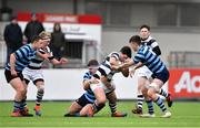10 February 2020; Hugh Flood of Belvedere College is tackled by Ben Griffin, left, and Luke Callinan of St Vincent's Castleknock College during the Bank of Ireland Leinster Schools Senior Cup Second Round match between Belvedere College and St Vincent's Castleknock College at Energia Park in Dublin. Photo by Piaras Ó Mídheach/Sportsfile