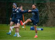 10 February 2020; Leinster players, from left, Jimmy O'Brien, Rowan Osborne and Jamison Gibson-Park during Leinster Rugby squad training at UCD, Dublin. Photo by Joseph Walsh/Sportsfile