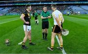 18 January 2020; Referee Seán Stack with team captains James Bergin of Conahy Shamrocks and Daniel Moynihan of Russell Rovers before the AIB GAA Hurling All-Ireland Junior Club Championship Final between Russell Rovers and Conahy Shamrocks at Croke Park in Dublin. Photo by Piaras Ó Mídheach/Sportsfile