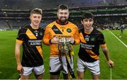 18 January 2020; Conahy Shamrocks players, from left, Simon Callinan, Padraic Delaney, and Bill Murphy celebrate with the cup after the AIB GAA Hurling All-Ireland Junior Club Championship Final between Russell Rovers and Conahy Shamrocks at Croke Park in Dublin. Photo by Piaras Ó Mídheach/Sportsfile