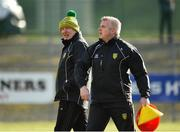 9 February 2020; Donegal manager Declan Bonner, left, along with coach Stephen Rochford before the Allianz Football League Division 1 Round 3 match between Donegal and Galway at O'Donnell Park in Letterkenny, Donegal. Photo by Oliver McVeigh/Sportsfile