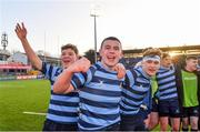 10 February 2020; St Vincent's Castleknock College players, from left, Louis McDonough, Ben Bislin, and Fergus Stanley celebrate after the Bank of Ireland Leinster Schools Senior Cup Second Round match between Belvedere College and St Vincent's Castleknock College at Energia Park in Dublin. Photo by Piaras Ó Mídheach/Sportsfile