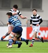 10 February 2020; Hugh Flood of Belvedere College is tackled by Luke Callinan, front, and Ben Griffin of St Vincent's Castleknock College during the Bank of Ireland Leinster Schools Senior Cup Second Round match between Belvedere College and St Vincent's Castleknock College at Energia Park in Dublin. Photo by Piaras Ó Mídheach/Sportsfile