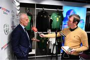 10 February 2020; The Football Association of Ireland are delighted to announce a new partnership with the leading Irish sports retailer INTERSPORT Elverys, as the new title sponsor of the FAI Summer Soccer Schools. Republic of Ireland manager Mick McCarthy speaking with Newstalk's Stephen Doyle at INTERSPORT Elverys, Henry Street in Dublin. Photo by Stephen McCarthy/Sportsfile