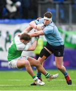 11 February 2020; Jack Boyle of St Michaels College is tackled by Hugo Fitzgerald of Gonzaga College during the Bank of Ireland Leinster Schools Senior Cup Second Round match between Gonzaga College and St Michaels College at Energia Park in Dublin. Photo by Ramsey Cardy/Sportsfile