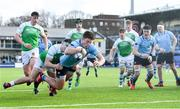 11 February 2020; Lee Barron of St Michaels College dives over to score his side's fourth try despite the tackle of George Kenny of Gonzaga College during the Bank of Ireland Leinster Schools Senior Cup Second Round match between Gonzaga College and St Michaels College at Energia Park in Dublin. Photo by Ramsey Cardy/Sportsfile
