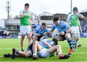 11 February 2020; Lee Barron of St Michaels College celebrates with team-mates Fintan Gunne, left, and Dylan Ryan after scoring his side's fourth try during the Bank of Ireland Leinster Schools Senior Cup Second Round match between Gonzaga College and St Michaels College at Energia Park in Dublin. Photo by Ramsey Cardy/Sportsfile