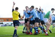 11 February 2020; St Michaels College players celebrate their side's fourth try scored by Lee Barron, left, during the Bank of Ireland Leinster Schools Senior Cup Second Round match between Gonzaga College and St Michaels College at Energia Park in Dublin. Photo by Ramsey Cardy/Sportsfile