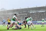 11 February 2020; Lee Barron of St Michaels College dives over for a try which was subsequenly disallowed during the Bank of Ireland Leinster Schools Senior Cup Second Round match between Gonzaga College and St Michaels College at Energia Park in Dublin. Photo by Ramsey Cardy/Sportsfile