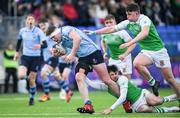 11 February 2020; Jack Boyle of St Michaels College is tackled by Harry Colbert of Gonzaga College during the Bank of Ireland Leinster Schools Senior Cup Second Round match between Gonzaga College and St Michaels College at Energia Park in Dublin. Photo by Ramsey Cardy/Sportsfile