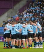 11 February 2020; The St Michaels College team huddle ahead of the Bank of Ireland Leinster Schools Senior Cup Second Round match between Gonzaga College and St Michaels College at Energia Park in Dublin. Photo by Joe Walsh/Sportsfile
