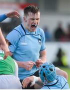 11 February 2020; St Michaels College captain Will Hickey celebrates during the Bank of Ireland Leinster Schools Senior Cup Second Round match between Gonzaga College and St Michaels College at Energia Park in Dublin. Photo by Joe Walsh/Sportsfile