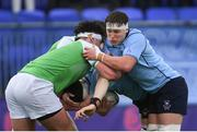 11 February 2020; Conor Booth of St Michaels College and George Morris of Gonzaga College during the Bank of Ireland Leinster Schools Senior Cup Second Round match between Gonzaga College and St Michaels College at Energia Park in Dublin. Photo by Ramsey Cardy/Sportsfile