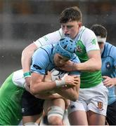 11 February 2020; Stephen Woods of St Michaels College is tackled by Ronan Shaw of Gonzaga College during the Bank of Ireland Leinster Schools Senior Cup Second Round match between Gonzaga College and St Michaels College at Energia Park in Dublin. Photo by Ramsey Cardy/Sportsfile