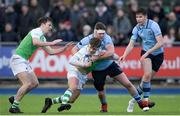 11 February 2020; Jamie MacNulty of Gonzaga College is tackled by Jack Boyle of St Michaels College during the Bank of Ireland Leinster Schools Senior Cup Second Round match between Gonzaga College and St Michaels College at Energia Park in Dublin. Photo by Ramsey Cardy/Sportsfile