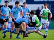 11 February 2020; Simon Wilson of Gonzaga College and Eddie Kelly of St Michaels College during the Bank of Ireland Leinster Schools Senior Cup Second Round match between Gonzaga College and St Michaels College at Energia Park in Dublin. Photo by Ramsey Cardy/Sportsfile