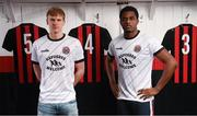12 February 2020; Kris Twardek, left, and Andre Wright during the launch of the Bohemians FC 2020 away jersey at Dalymount Park in Dublin. Bohemian FC launched their 2020 away jersey, with the iconic and harrowing image of a family fleeing war taking centre place. They're launching the away jersey in partnership with Amnesty International Ireland, to campaign together for an end to the Direct Provision system. Photo by Stephen McCarthy/Sportsfile