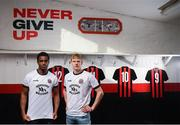 12 February 2020; Andre Wright, left, and Kris Twardek during the launch of the Bohemians FC 2020 away jersey at Dalymount Park in Dublin. Bohemian FC launched their 2020 away jersey, with the iconic and harrowing image of a family fleeing war taking centre place. They're launching the away jersey in partnership with Amnesty International Ireland, to campaign together for an end to the Direct Provision system. Photo by Stephen McCarthy/Sportsfile