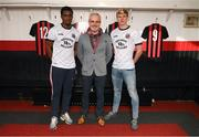 12 February 2020; Andre Wright, left, Colm O'Gorman, Executive Director of Amnesty International Ireland, and Kris Twardek, right, during the launch of the Bohemians FC 2020 away jersey at Dalymount Park in Dublin. Bohemian FC launched their 2020 away jersey, with the iconic and harrowing image of a family fleeing war taking centre place. They're launching the away jersey in partnership with Amnesty International Ireland, to campaign together for an end to the Direct Provision system. Photo by Stephen McCarthy/Sportsfile