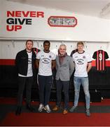 12 February 2020; Daniel Lambert, Bohemian FC Marketing & Commercial Director, left, Andre Wright, Colm O'Gorman, Executive Director of Amnesty International Ireland, and Kris Twardek, right, during the launch of the Bohemians FC 2020 away jersey at Dalymount Park in Dublin. Bohemian FC launched their 2020 away jersey, with the iconic and harrowing image of a family fleeing war taking centre place. They're launching the away jersey in partnership with Amnesty International Ireland, to campaign together for an end to the Direct Provision system. Photo by Stephen McCarthy/Sportsfile