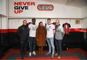 12 February 2020; Bohemians manager Keith Long, left, Andre Wright, Mpho Mokotso, representative for MASI, Kris Twardek, and Colm O'Gorman, Executive Director of Amnesty International Ireland, right, during the launch of the Bohemians FC 2020 away jersey at Dalymount Park in Dublin. Bohemian FC launched their 2020 away jersey, with the iconic and harrowing image of a family fleeing war taking centre place. They're launching the away jersey in partnership with Amnesty International Ireland, to campaign together for an end to the Direct Provision system. Photo by Stephen McCarthy/Sportsfile