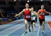25 January 2020; Cathal Crosbie of Ennis Track AC, Clare, celerbates winning the U23 Men's 400m during the Irish Life Health National Indoor Junior and U23 Championships at the AIT Indoor Arena in Athlone, Westmeath. Photo by Sam Barnes/Sportsfile