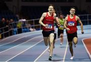 25 January 2020; Cathal Crosbie of Ennis Track AC, Clare, right, on his way to winning the U23 Men's 400m during the Irish Life Health National Indoor Junior and U23 Championships at the AIT Indoor Arena in Athlone, Westmeath. Photo by Sam Barnes/Sportsfile