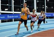 25 January 2020; Mark Milner of UCD AC, Dublin, leads the field whilst competing in the U23 Men's 800m during the Irish Life Health National Indoor Junior and U23 Championships at the AIT Indoor Arena in Athlone, Westmeath. Photo by Sam Barnes/Sportsfile