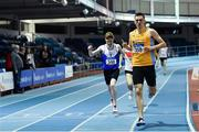 25 January 2020; Mark Milner of UCD AC, Dublin, right, crosses the line to win the U23 Men's 800m, ahead of Philip Marron of Ratoath AC, Meath, during the Irish Life Health National Indoor Junior and U23 Championships at the AIT Indoor Arena in Athlone, Westmeath. Photo by Sam Barnes/Sportsfile