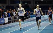 25 January 2020; Jack Raftery of Donore Harriers, Dublin, left, on his way to winning the Junior Men's 400m ahead of Ciaran Carthy of Dundrum South Dublin AC, during the Irish Life Health National Indoor Junior and U23 Championships at the AIT Indoor Arena in Athlone, Westmeath. Photo by Sam Barnes/Sportsfile