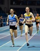 25 January 2020; Rachel McCann of North Down AC, right, on her way to winning the Junior Women's 400m, ahead of Simone Lalor of St. Laurence O'Toole AC, Carlow, during the Irish Life Health National Indoor Junior and U23 Championships at the AIT Indoor Arena in Athlone, Westmeath. Photo by Sam Barnes/Sportsfile